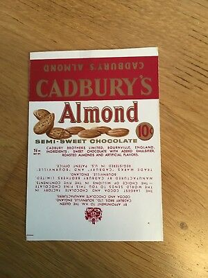 Cadbury's Advertising Almond Semi Sweet Chocolate American Export Wrapper 1960s
