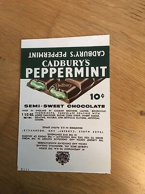 Cadbury's Advertising Peppermint Semi Sweet Chocolate US Export Wrapper 1960s