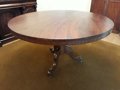 Victorian mahogany round tilt-top dining table