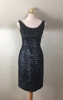 Vintage 60s Frances Prisco For Ted Brown Sz 8 Black Sequined Cocktail Dress NWT