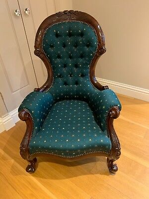 Victorian Reproduction Nursing Chair. Old English Green with pattern.