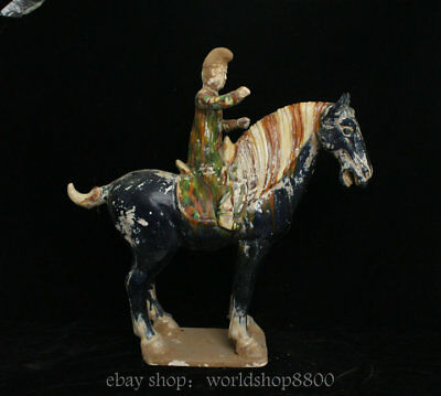 "18.8"" Antique Old Chinese Tang Sancai Porcelain Dynasty People Ride Horse Statue"
