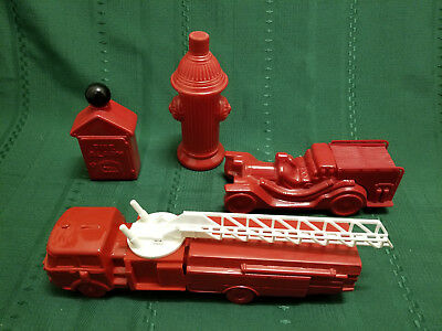 Lot of 4 Vintage Avon Fire Fighter Decanters Fire Truck Hydrant Plug Alarm Box