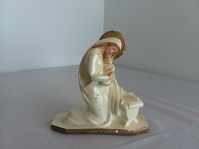 """Virgin Mary Our Lady Madonna Holding Child Crib 8"""" tall Statue Figurine HT"""