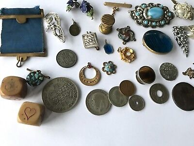 Antique Old Vintage Lot Jewellery Coins Buttons Dice Bits & Pieces Spare Repair