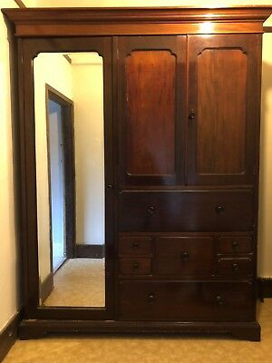 Antique Mahogany Wardrobe with drawers & hanging space. Beautiful. Solid Wood