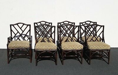 Six Vintage Chinese Chippendale Bamboo Chairs David Francis Furn. ~ Seven Chairs