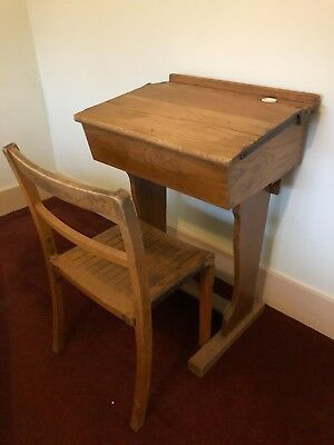 Antique Vintage Old School Desk And Chair - Oak Ink Pot Lift up storage lid Wood