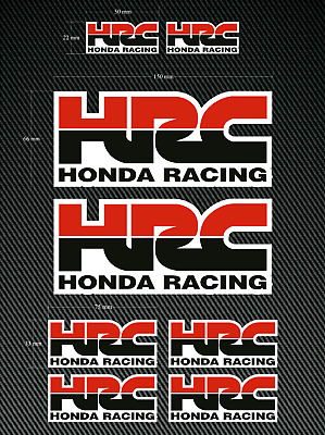 8 x HONDA HRC Stickers/Decals - Red/Black - High Quality Printed & Cut Stickers