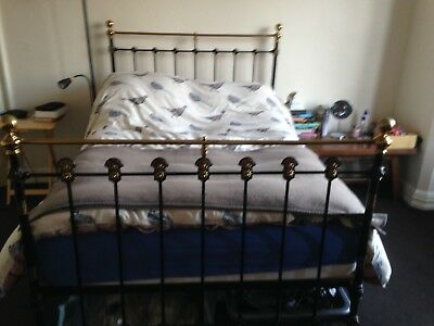 Original Victorian Antique Cast Iron Double Bed Frame