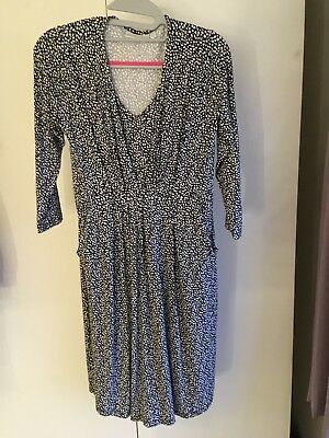 Jojo Maman Bebe Black Spot Print Maternity Nursing Tunic Dress Small