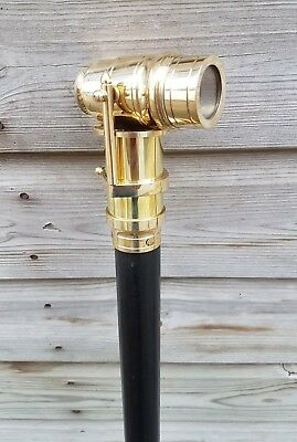 Brass Telescope Walking Stick ~ Vintage Handle with Three Fold Wooden Shaft Cane