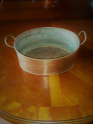 Large Vintage Copper Pan With Brass Handles, Kitchenalia