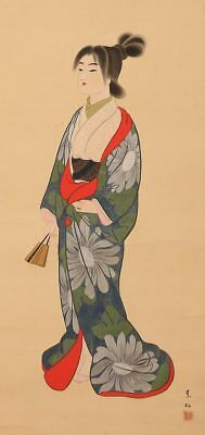 BEAUTY Hanging Scroll Japanese Painting OLD VINTAGE GENROKU 元禄 ART Japan c831