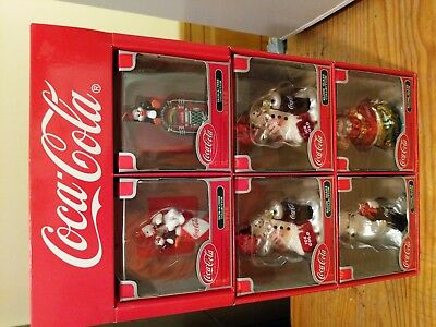 6 Coca-Cola Cavanagh Christmas ornaments 2002 Polar Bear Santa Snowman penguin