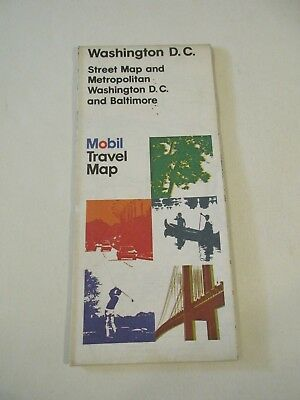 1976 MOBIL Washington DC Metro & Baltimore City Street Oil Gas Station Road Map