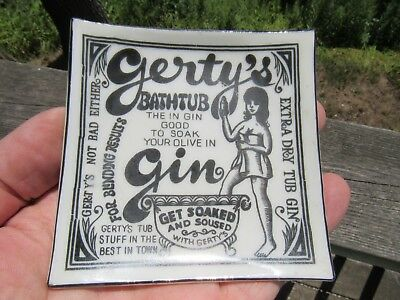 Vintage Gerty's Bathtub Gin Advertising Ash Tray - Tip Tray - Sign