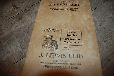 VINTAGE Druggist Pharmacy Paper Label roll J. LEWIS LEIB CURWENSVILLE, PENN. PA