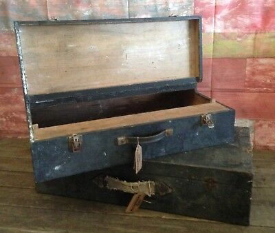 2 vintage wooden classic joiners garage boxes cases with handles