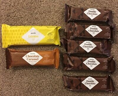 7 x EXANTE DIET BARS - CHOCOLATE, LEMON & CHOCOLATE CARAMEL CRUNCH