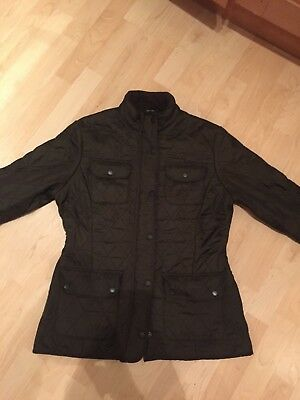 Women's Quilted Barbour Jacket/Coat, UK 12, Green, Padded