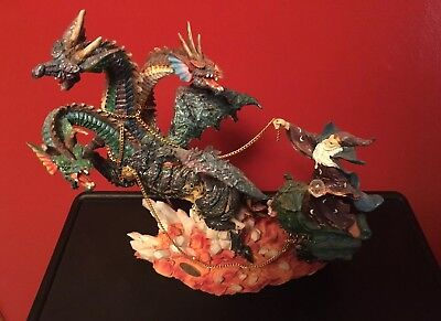 Large Dragon And Wizard Statue From The Midori Mint Collection