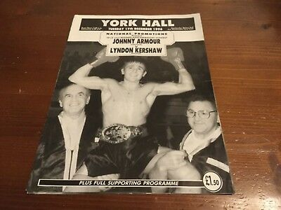 Johnny Armour Vintage Boxing Programmes Inc Signed Armour ,Adrian Dodson