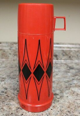 VINTAGE 1970s THERMOS BRAND 10 inch Red And Black