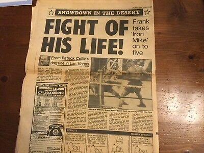 Frank Bruno v Mike Tyson Vintage Original Newspaper 26/2/1989 Rare
