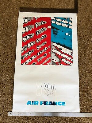 AIR FRANCE USA Vintage Airlines Travel poster 1968 GEORGE MATHIEU NM