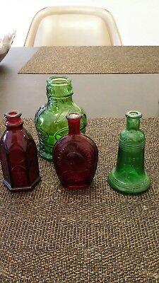 Lot of 4 Vintage Wheaton Miniature Colored Glass Bottles