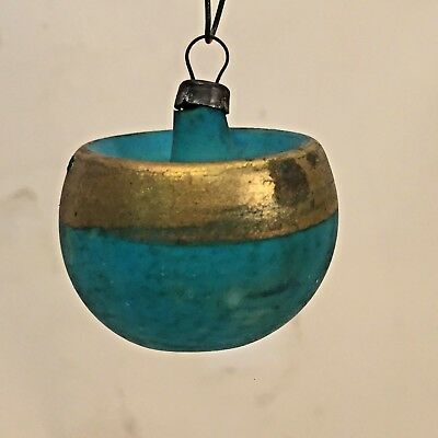 Vtg HTF Christmas Ornament UNSILVERED w Indent on the Top AQUA Blue Gold German?