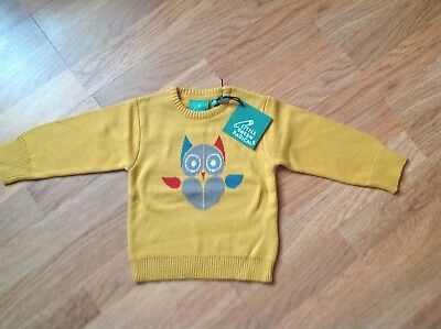 Wool Jumper in Gold with Owl print on front from Little Green Radicals - size 6-
