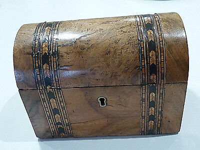 Tea Caddy Antique Dome Topped Inlaid Decorated Walnut Cc1860 Hinged T Caddie Box