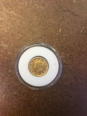 1853 Gold Liberty Head One Dollar Coin.