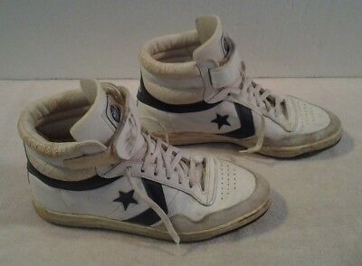 """Mens Vintage early 80's """"CONVERSE NBA PLAYERS"""" high tops Velcro + tie sz 8 1/2"""