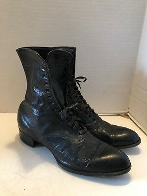 Antique Victorian Ladies Black Leather High Top Lace Lace Up Shoes Boots