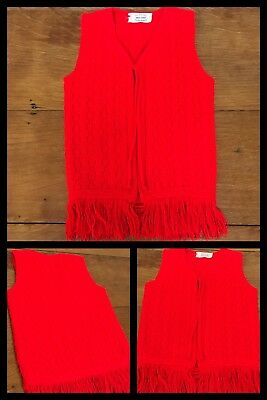 1960s Red Vest Sweater Christmas MAY KNIT Cardigan MOD Fringe Hippy Girls 5 / 6