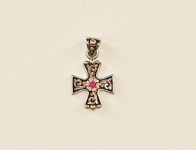 Bob Berg Signed Sterling Silver Cross with a Stone