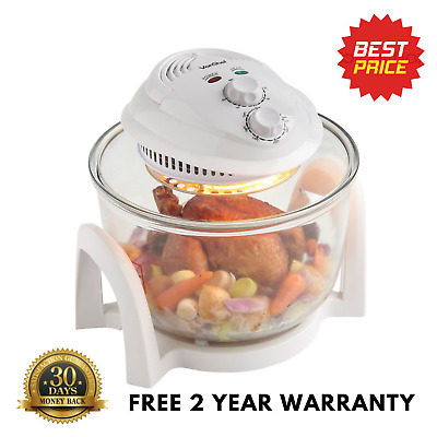 Premium Large 7L White Electric Halogen Oven cooker Bowl Grill Oven Steamer