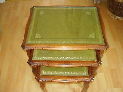 NEST OF 3 LEATHER / GLASS TOPPED WOODEN TABLES Queen Anne Antique