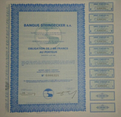 COLLECTOR ! French bond & share - Obligation + coupons 1982 - BANQUE STEINDECKER