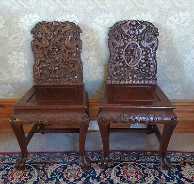 Two Vintage Dark Wood Heavily Carved Children Dragon Chinese Chairs Pair 1940s?