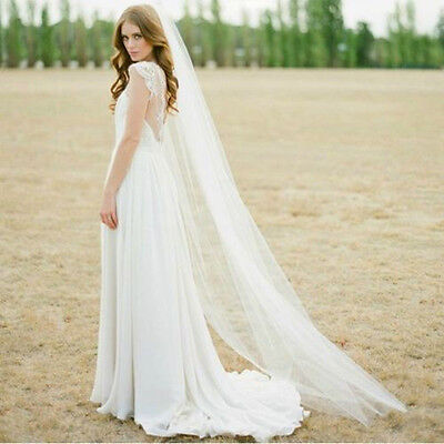 9New Tulle Beige White 1T 2M Wedding Prom Bridal Long Veil Cathedral With Comb