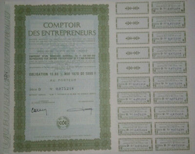 COLLECTOR ! French bond & share - Obligation 1976 - COMPTOIR DES ENTREPRENEURS