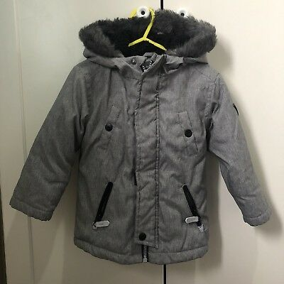 Boys Grey Winter Coat Age 18-24 months Fur Hood