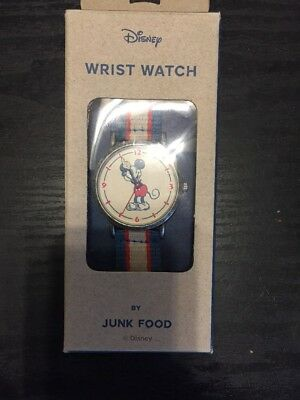 JUNK FOOD Mickey Mouse Wrist Watch (Disney) Silver Red White & Blue Strap