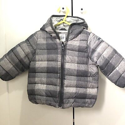Boys Gap Grey Winter Coat Age 12-18 months Hood Soft Material