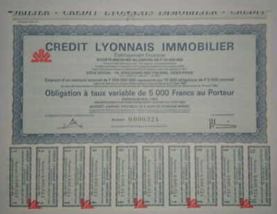 COLLECTOR ! French bond & share - Obligation 1982 - CRÉDIT LYONNAIS IMMOBILIER