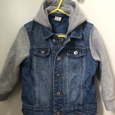 Boys H&M Denim Jacket Age 18-24 months 1.5-2yrs Hood Soft Material